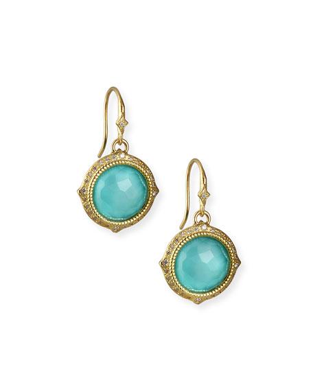Old World Turquoise/Quartz Drop Earrings w/ Diamonds & 18k Gold