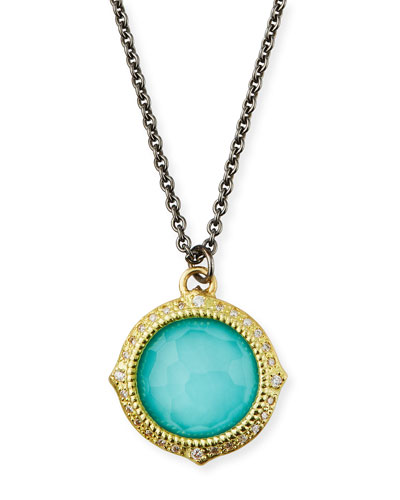 Old World Turquoise/Quartz Pendant Necklace w/ Diamonds & 18k Gold
