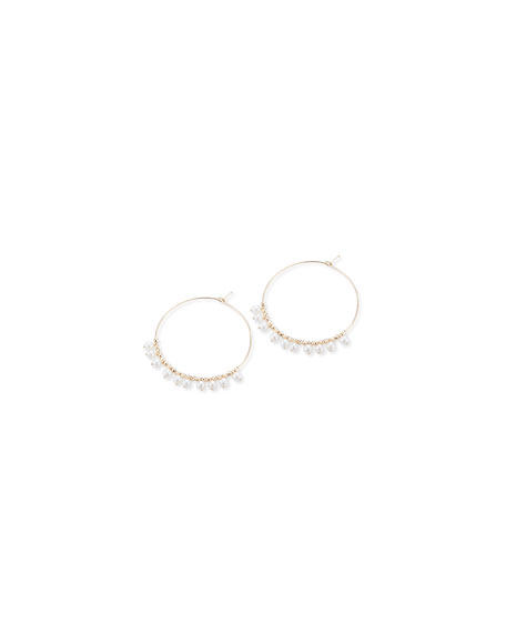 14k Gold Small Hoop & Pearl Dangle Earrings