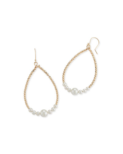 14k Gold Pearl Teardrop Hoop Earrings