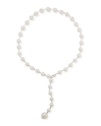 14k Gold Freshwater Pearl Lariat Necklace
