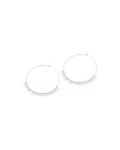 14k Gold Large Hoop & Pearl Dangle Earrings