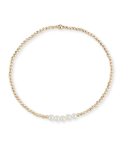 14k Gold Five-Pearl Bracelet