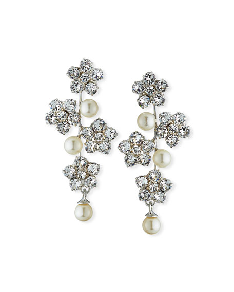 Jennifer Behr FLORAL CRYSTAL & PEARLY EARRINGS