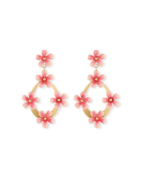 Jennifer Behr Machelle Flower Hoop-Drop Earrings