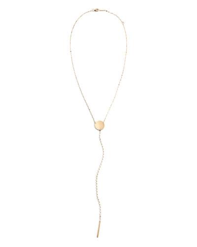 14k Y-Drop Disc Necklace  15mm