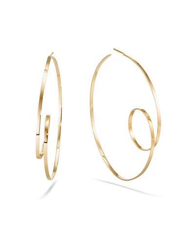 14k Gold Flat-Loop Hoop Earrings  60mm