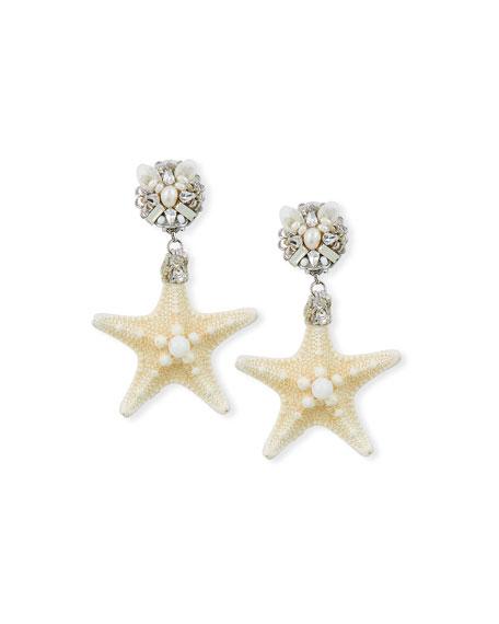 Starfish Clip-On Drop Earrings