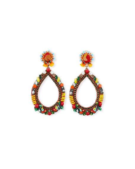Ranjana Khan Accessories MERI BEAD & CRYSTAL TEARDROP EARRINGS