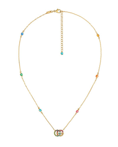 Running G Station Necklace with Topaz  Citrine & Sapphire