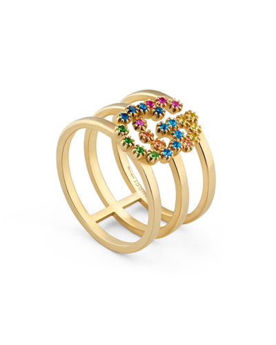 Running G Three-Row Band Ring with Topaz & Sapphire  Size 6.75