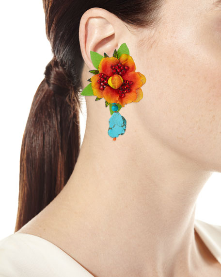 Manta Flower Clip-On Earrings