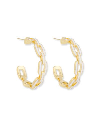 Carmine Small Enamel Hoop Earrings