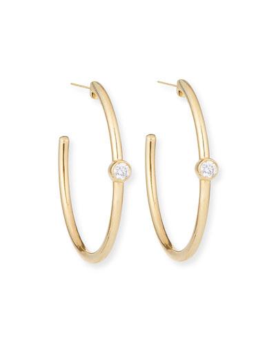Essential 14k Diamond Hoop Earrings