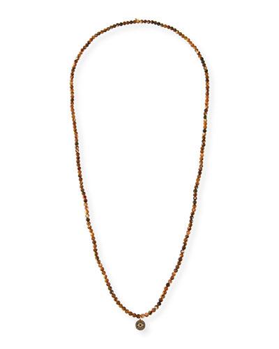 14k Diamond Evil Eye Long Beaded Necklace