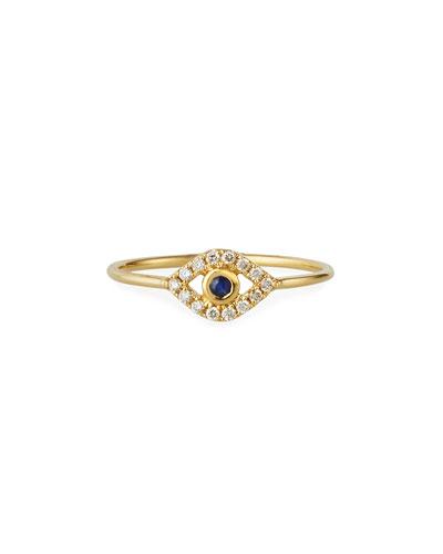 14k Diamond Pave Evil Eye Ring  Size 6.5
