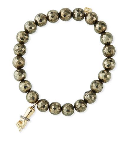 14k Diamond Figa Fist & Pyrite Bead Bracelet