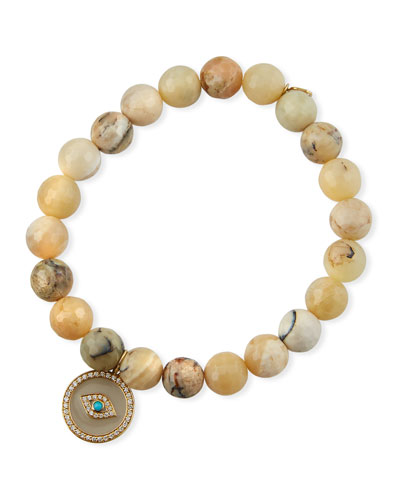 14k Enamel Evil Eye & Opal Bracelet
