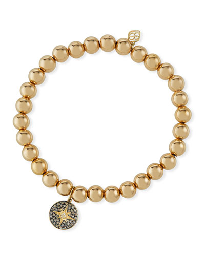 14k Bead Bracelet w/ Diamond Starburst