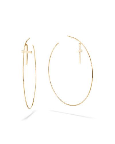 14k Cross & Wire Hoop Earrings