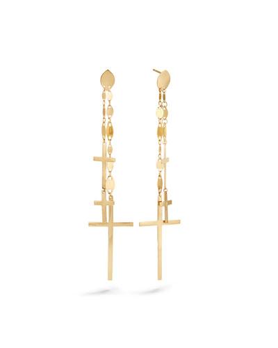 14k Multi-Cross Dangle Earrings