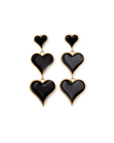 3-Heart Drop Enamel Earrings