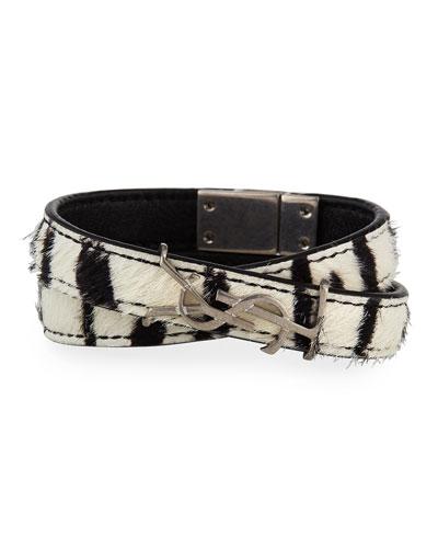 Leather Double-Wrap YSL Bracelet  Size S
