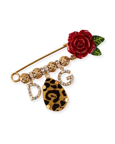Leopard & Roses Crystal Logo Brooch