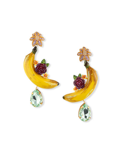 Banana and Flower Drop Earrings