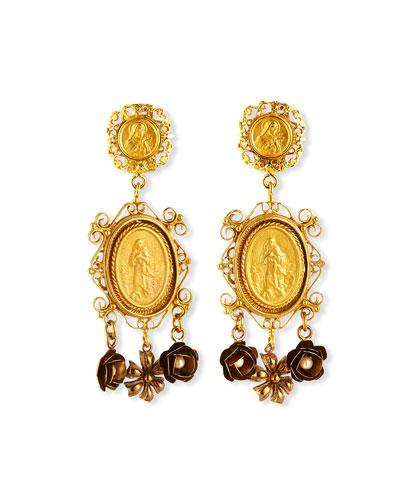 Medallion & Flower Drop Earrings