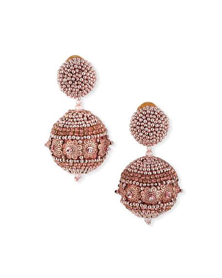 Oscar de la Renta Beaded Ball Earrings, Rose