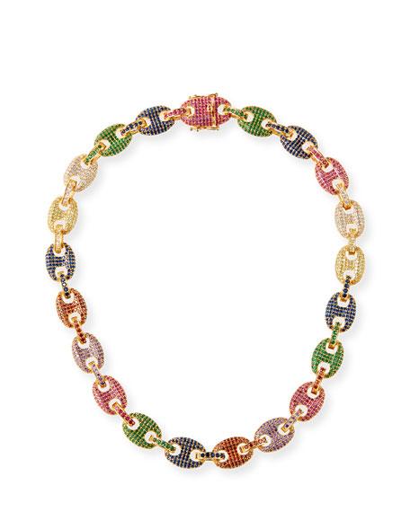 Toscano Pave-Link Necklace, Multicolor