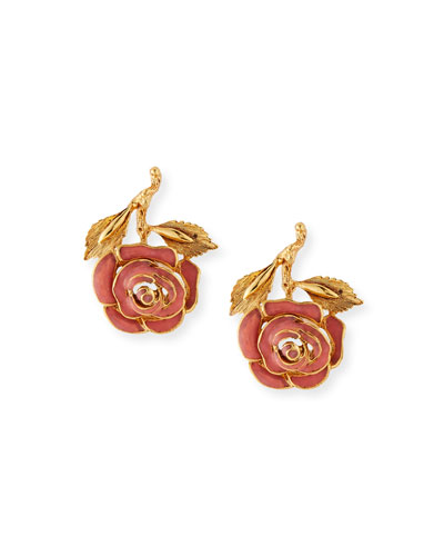 Petite Matte Rose Clip-On Earrings  Coral