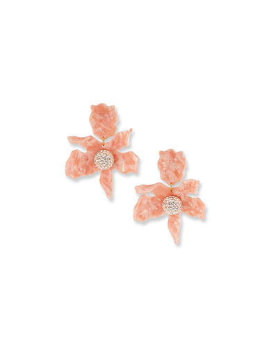 Crystal Lily Stud Earrings  Peach