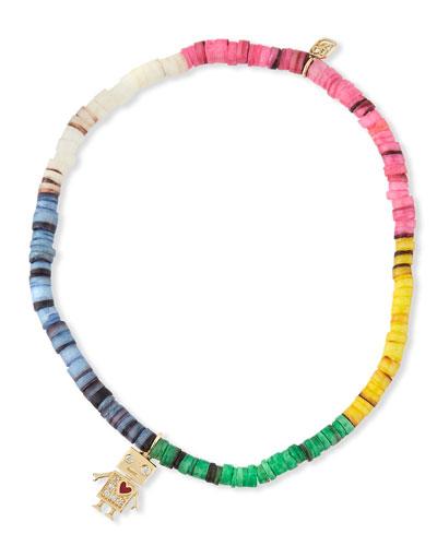 14k Diamond Robot & Shell Bracelet