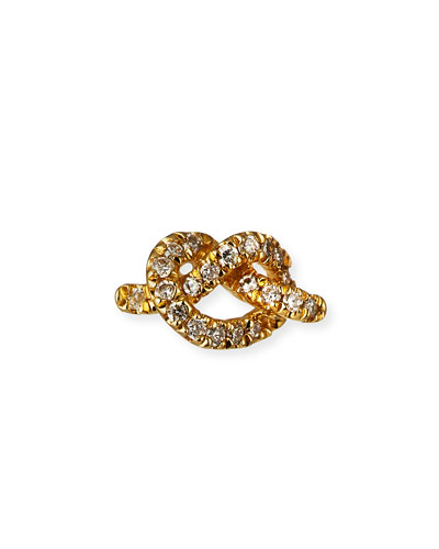 14k Diamond Love Knot Stud Earring  Single