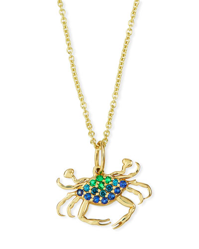 14k Multi-Pave Large Crab Necklace