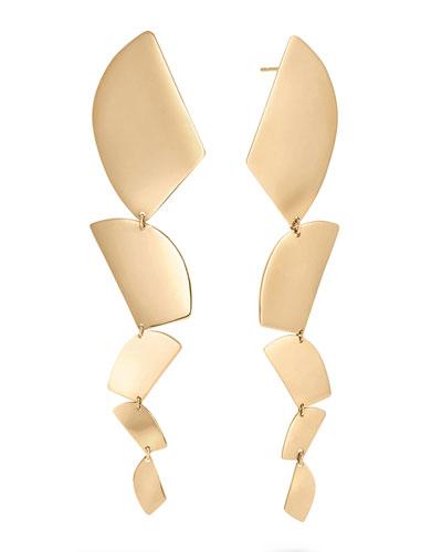 14k Gold 5-Shape Linear Drop Earrings