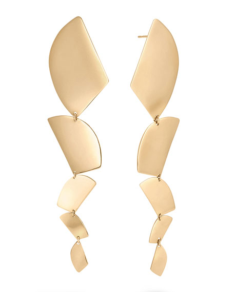 14k Gold 5-Shape Linear Drop Earrings