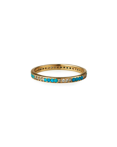Old World 18k Turquoise and Diamond Band Ring, Size 6.5