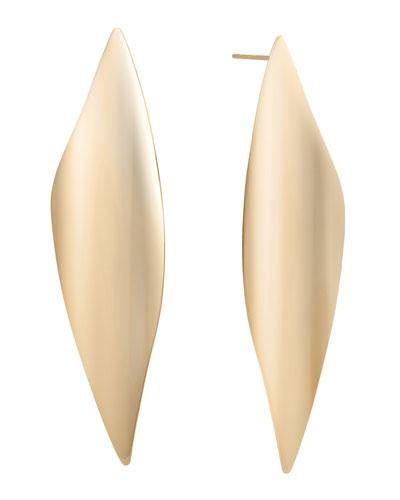 14k Gold Linear Wave Earrings