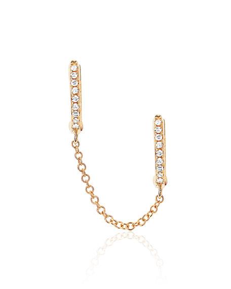 14k Diamond Double-Huggie Chain Earring, Single