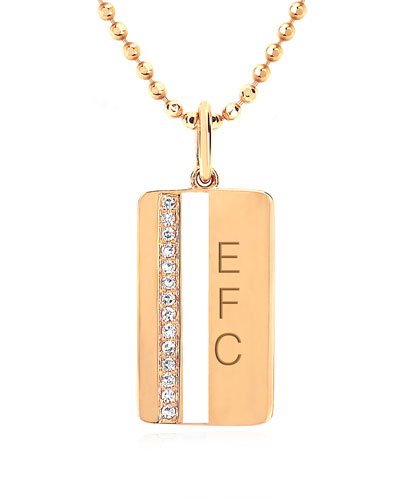 14k Diamond & Enamel Stripe Pendant Necklace  White