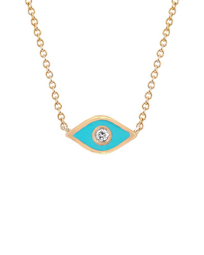 14k Rose Gold Diamond & Enamel Evil Eye Necklace  Turquoise
