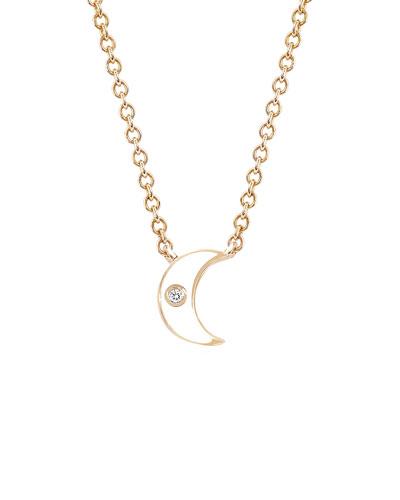 14k Rose Gold Diamond & Enamel Crescent Necklace  White