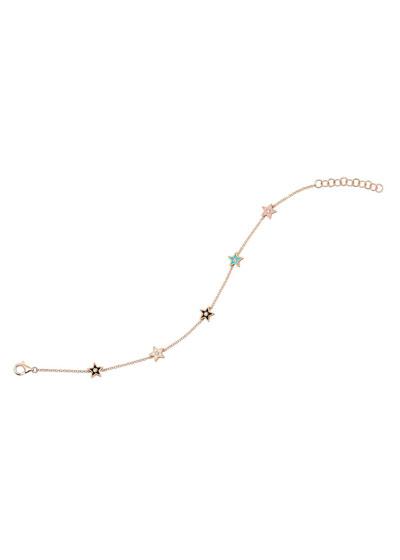 14k Rose Gold 5-Diamond & Enamel Star Bracelet