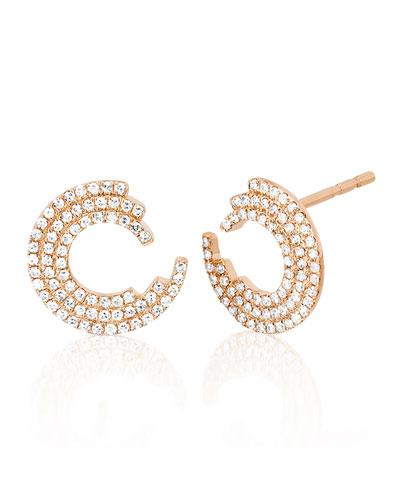 14k Rose Gold Diamond Willow Stud Earrings
