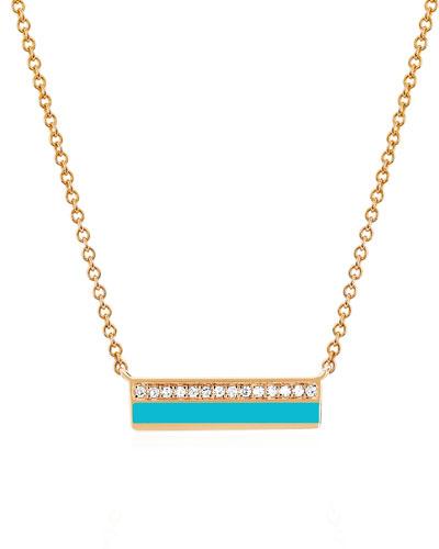 14k Rose Gold Diamond & Enamel Bar Necklace  Turquoise