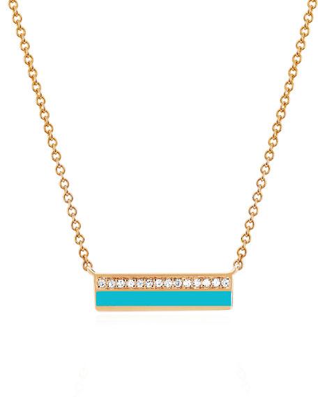 14k Rose Gold Diamond & Enamel Bar Necklace, Turquoise