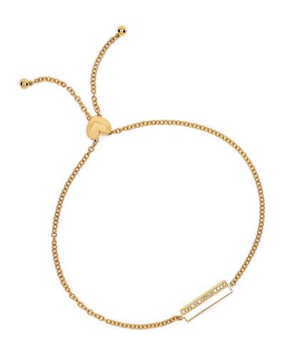 14k Diamond & Enamel Bar Bolo Bracelet  White